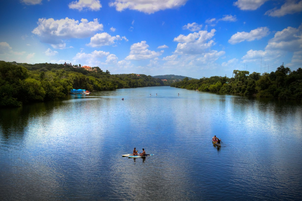 Lady Bird Lake, a dammed portion of the Colorado River, is a hub of activity for Austin's many fitness fanatics.